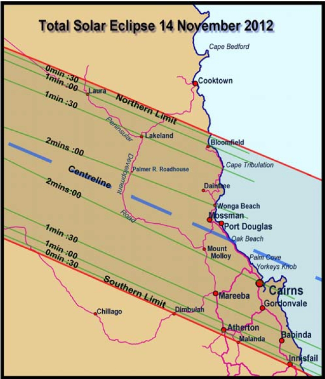 Total solar Eclipse 14 November 2012 - Path over North Queensland