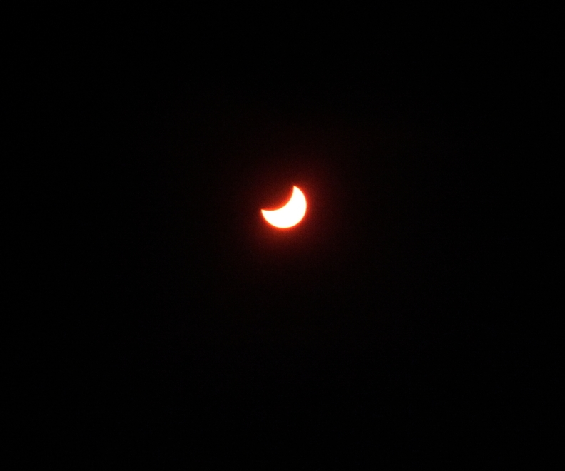 Solar eclipse underway at Etty Bay